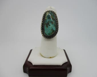 Sterling Silver Native American Indian Navajo Turquoise Cabochon Ring Size 7