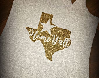"Texas ""Home Y'all"" tri-blend racerback tank"