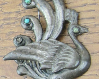 Vintage Sterling Turquoise brooch Peacock bird hand made in Mexico silver jewelry 925
