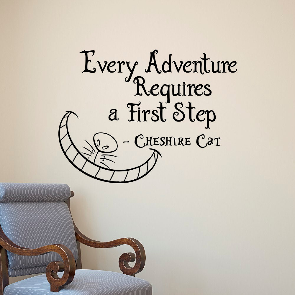 Alice In Wonderland Caterpillar Quotes: Alice In Wonderland Wall Decal Cheshire Cat Every Adventure