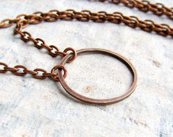 copper Circle necklace simple necklace copper jewelry coworker gift under 15 dollars