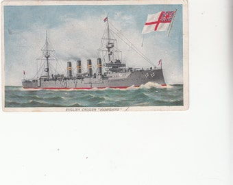 """1908 British Military Cruiser """"Hampshire"""", Naval Ship,Stats On Reverse Side"""