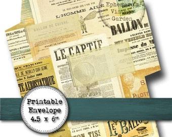 Printable Steampunk Envelope - Digital Download