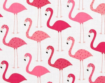 Urban Zoologie Flamingos White Background ~  Ann Kelle for Robert Kaufman Cotton Quilt Fabric