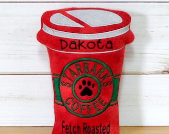 RED Starbarks Coffee Squeaker Dog Toy Personalized Dog Toy with Squeaker Special Dog Toys Treats Personalized