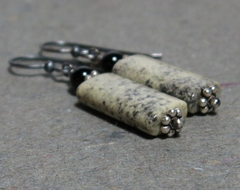 Black Onyx, Pale Green Serpentine Earrings Oxidized Sterling Silver Geometric Jewelry Gift for Her