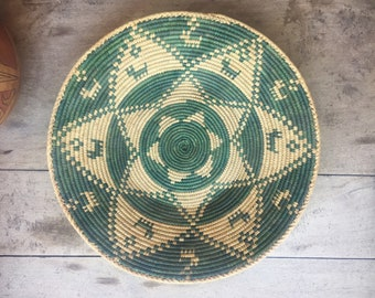 Shallow Basket Coiled Basket Beige Green Decor Bohemian Decor Southwestern Decor Woven Basket Wall Decor, Wall Basket Weaving Jungalo Style