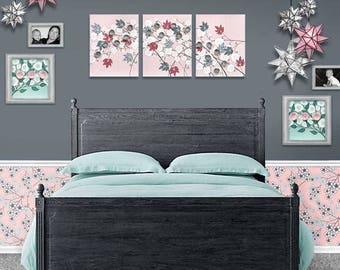 Girl Nursery Art for Baby, Large Canvas Art, Pink and Gray Flower Painting Triptych - 50x20