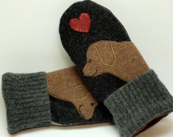 Labrador Retriever Mittens Recycled Wool  Sweater Mittens Dark Gray Brown and Red Applique Leather Palm Fleece Lining Eco Friendly Size M/L