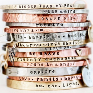 Personalized Jewelry / Mothers Day Gift / Graduation Gift / Power Phrase Bangle / Travel Gift / Gift for Her / Inspirational Bracelet