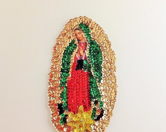 """Our Lady of Guadalupe Sequin Applique La Virgen de Guadalupe en Lentejuela 7.5""""X4.5"""" Virgin of Guadalupe"""