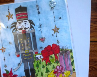 Christmas Advent Count Down Calendar Lift the Flap with Random Acts of Kindness Nutcracker Design