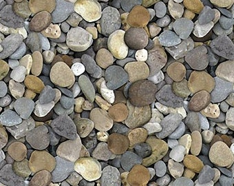 Landscape Fabric / Naturescapes,Rocks Fabric / Northcott 21394 93 Pebble Fabric by the yard / Stone Yardage Stones Fat Quarter Fabric