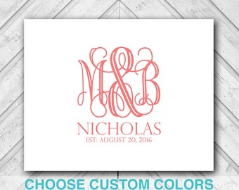 unique wedding guestbook canvas - navy and coral wedding - personalized monogram guest book