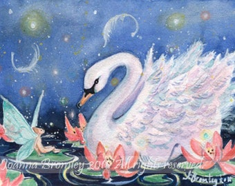 "ACEO -Lily Fae and Swan, 3.5x2.5"", Limited Edition Print, whimsical fairy fantasy animal art"