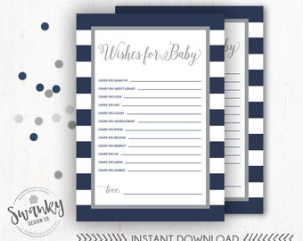 Navy and Gray Wishes for Baby, Wishes for Baby Boy, Baby Shower Printable, Wishes for Baby Card, Boy Baby Shower Printable, Instant Download