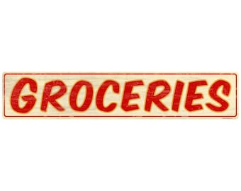 Groceries Store Wall Decal Red Wood Look #50112