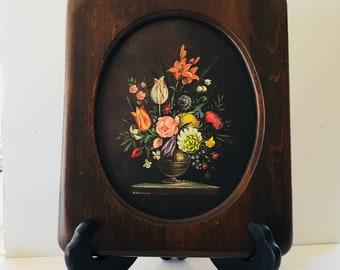 Antique Oil Floral on Paper Art By D Bastanier  Dorthea Signed Germany 1924-1970