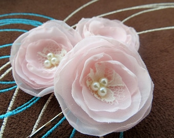 Blush pink wedding flower hair clips (set of 3), bridal hairpiece, bridal hair flower, wedding hair flower, READY TO SHIP