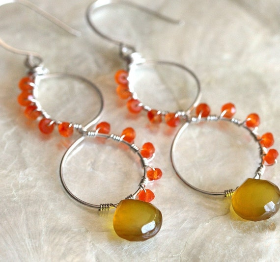 Chalcedony Earrings, Silver Hoop Earrings, Carnelian Jewelry, Agate Earreings,  Yellow and Orange Earrings, Colorful Jewelrly