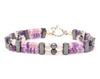 "Fluorite Double Power Bracelet - ""Pain Relief"" - Beaded Bracelet, Healing Bracelet"