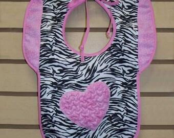 Pink Zebra Heart  Bib