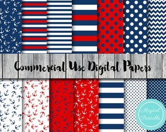 Nautical Digital Papers, Ahoy, Red and Navy Digital Paper, Commercial Use, Nautical Scrapbook Digital Papers, Digital Background, DP26