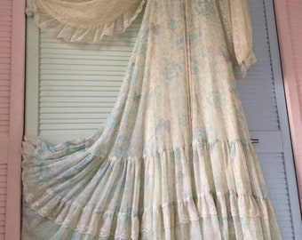 Gunne Sax 70s Magical Huge Lace Sleeves and Butterflies Maxi Dress Cream and Blue Hippy Wedding
