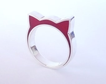 Handmade sterling silver and red resin cat ears ring.