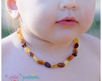 Children's Amber Necklace - 12 Inches - Raw Baltic Amber - Amber Necklace - Amber Teething Necklace - Teething Necklace for Child - Gift
