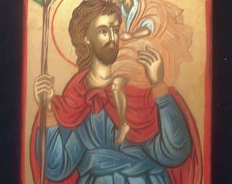 saint Christopher .hand painted ..religious..gift.Saint icon.christian icons.catholic icons,11x14cm
