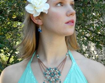 Aqua Necklace: Crystal, Pearl, Aquamarine, and Copper Sunburst Beadmail