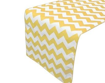 Zen Creative Designs Premium Cotton Table Top Runner Zig-Zag Chevron Yellow