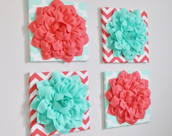 """Childrens Wall Decor -SET OF FOUR Mint and Coral Chevron Flower Wall Hangings 12 x12"""" Canvases Nursery Flower Wall Art-"""