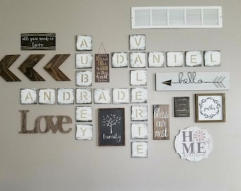 "Scrabble Wall Art, Farmhouse Decor, weathered, distressed, shabby chic, large scrabble wall, personalized sign, wood, letter, 5"" wood tiles"