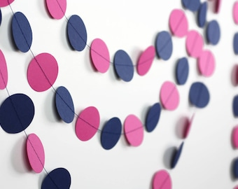 Hot Pink and Navy Blue Garland - Fuchsia and Navy Blue Paper Garland - Fuchsia Baby Shower - Gender Reveal Decorations