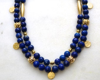 Blue Lapis Necklace with Gold Vermeil Accents, Double Strand Gemstone Necklace, Blue and Gold Bib Necklace...