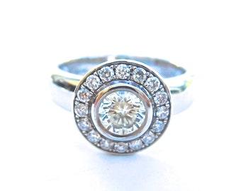 18ct white gold & diamond halo ring, vintage style diamond engagement ring, chunky band halo ring, edwardian style diamond ring
