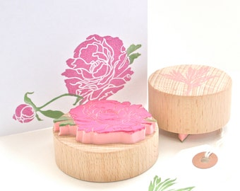 Peony Flower Stamp Set - Peony - Flower - Flowers - Peony Stamp - Made to Order - Hand Carved Rubber Stamps by Little Stamp Store