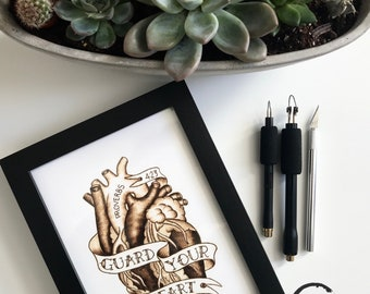 Guard your heart / anatomical heart / tattoo art / pyrography on paper / drawing / illustration / anatomy art / proverbs 4 23 / InkedArtista