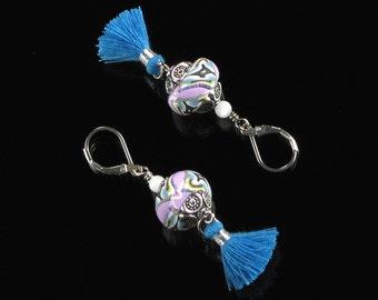 Boho Chic Earrings, Tassel Earrings, Festival Earrings, Leverback Earrings, Tassel Jewelry, Unique Silver Boho Hippie Earrings Gift, Women