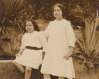 Original Vintage RPPC Photograph Girls Sisters 1910s