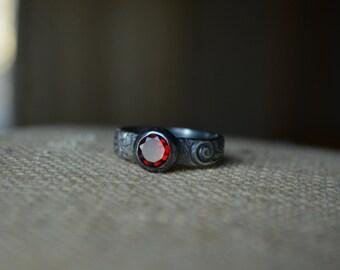 Red Garnet Ring, Garnet, Garnet Ring, Faceted Garnet Ring, Deep Red, Red Gemstone, Sterling Silver, Silver Garnet Ring
