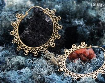 Delicate  brass big hoop earrings