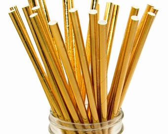50 PCS Assorted Gold Foil Paper Straws, Straws, Party Supplies, Wedding Supplies, Wedding, Party, Baby Shower, Straws, Tableware