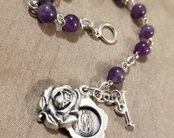 Our Lady of Guadalupe Amethyst Decade Rosary Bracelet