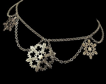 Sterling Silver Winter Bridal Statement Headpiece / Necklace - Snowflakes - SKADI