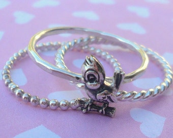 Sterling Silver Bluebird Stacking Ring Set