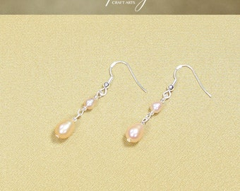Genuine Freshwater Pearl earrings, Peach Pearl earrings, 925 Sterling Silver hooks, Bridal and bridesmaids earrings, InfinityCraftArts