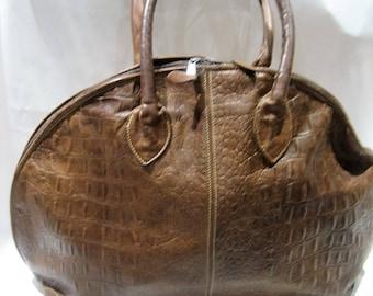 Vintage Unisa Large Satchel Croco Leather Travel Type Bag Made in Uruguay